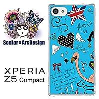 スカラー scr50138 スマホケース スマホカバー SO-02H ソニー SONY XPERIA Z5 Compact エクスペリア ハート フラミンゴ ユニオンジャック ブルー かわいい ファッションブランド