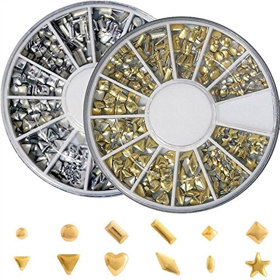 パック分析株式メタルスタッズ12種類 ネイル用 ゴールド&シルバー ラウンドケース入2個/セット