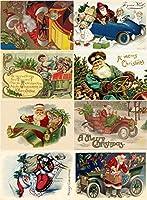"""Largeステッカー(各ステッカー2.5"""" x3.5、"""" 8Pics onシート) ヴィンテージクリスマスサンタ車FLONZ Craft"""