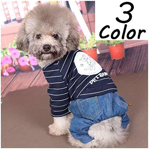 Plus Nao(プラスナオ) ペット用 犬用 洋服 ツナギ つなぎ カバーオール ロンパース 長袖 重ね着風 ボーダー デニム 裏ボア スナップボタン ピンク XL