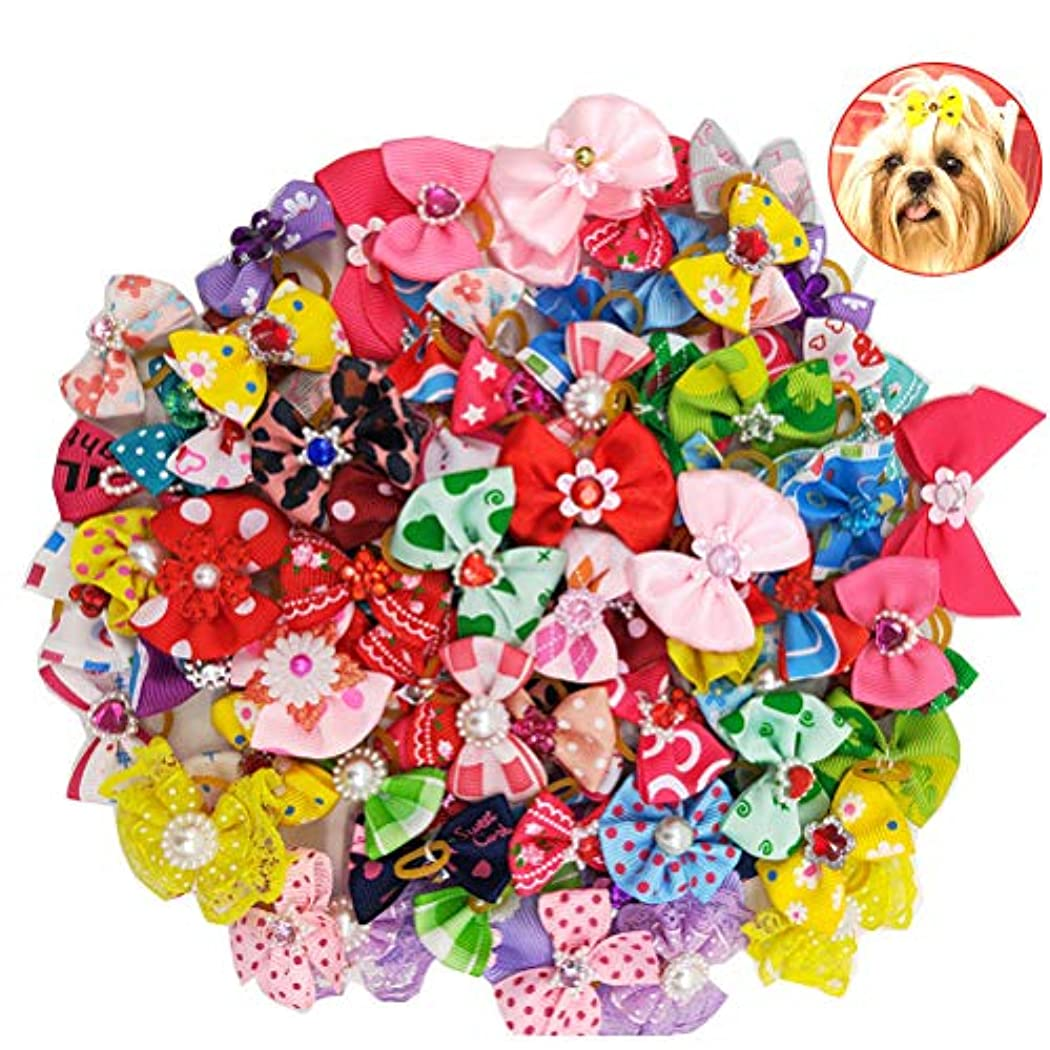 台風大理石ペースBalacoo 50個入り多色犬の髪の弓とゴムバンド弾性髪のバンドちょう結び帽子の帽子猫の犬のための(混合色)