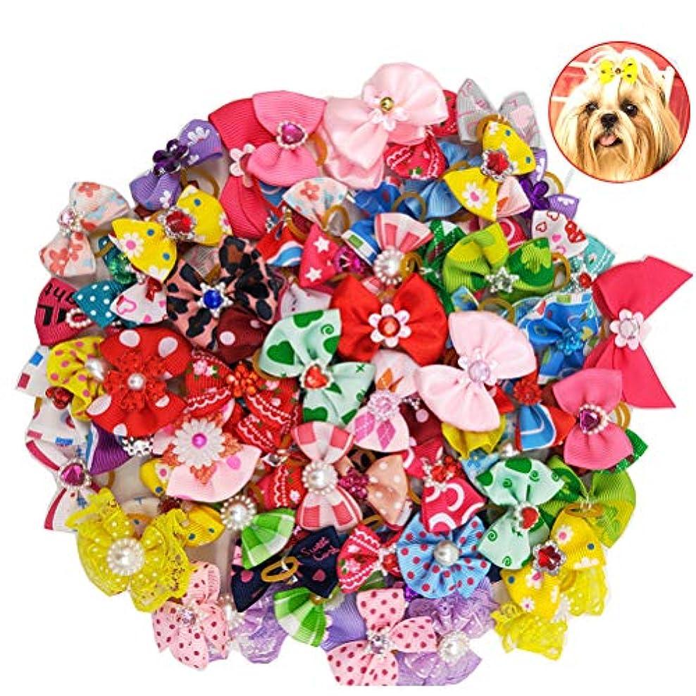 ソートビジターディスコBalacoo 50個入り多色犬の髪の弓とゴムバンド弾性髪のバンドちょう結び帽子の帽子猫の犬のための(混合色)