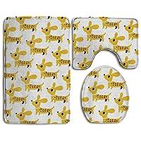 黄色の犬 トイレマット 3点セット フタカバー トイレU型足元マット 長方形バスマット おしゃれ 北欧 かわいい 速乾 吸水 家庭用 ホテル用 洗浄暖房用