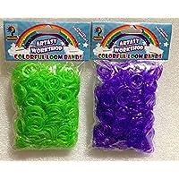 [Artasy ™][並行輸入品] DIY シルバーゴムバンドブレスレット (グリーン × パープル) Loom Bands Glitter twins refill Pack - (600 + 600 pcs) rubber ring Color: Green x Purple