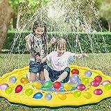 WTOR 子供 プール 111個水風船付き 噴水マット 噴水池 プレイマット ウォーター アウトドア 水遊び 夏の日 子供用 おもちゃ 芝生遊び 庭 家庭用