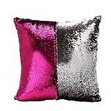 wddh 2色スパンコール枕リバーシブルスパンコール車ソファ装飾枕カバーファンシーマーメイド枕ケース(ローズレッド+シルバーホワイト)
