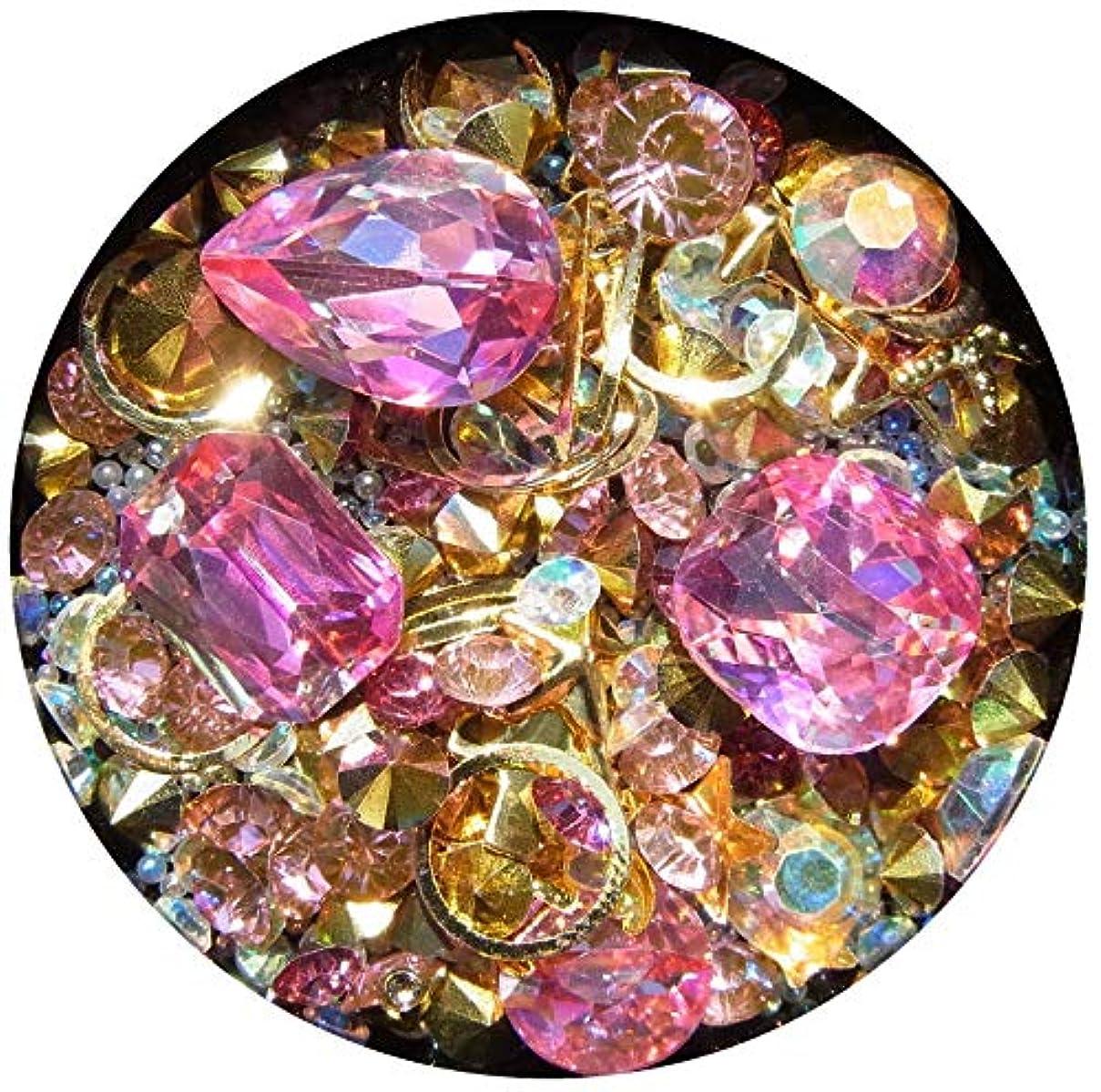値するベリラブ【jewel】メタルパーツ ミックス ラインストーン カーブ付きフレーム ゴールド ネイルアートパーツ レジン (2)
