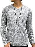 [オーバルダイス] Tシャツ ネックレス 付き セット 長袖 Vネック 無地 メンズ