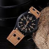 ZooooM 腕時計 メンズ クォーツ フェイク レザー ヴィンテージ 風 ダブル ピン バックル 男性用 皮 革 ファッション カジュアル ( キャメル ) ZM-SANWONY1776-CA