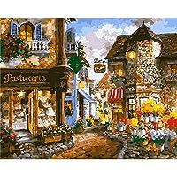 数字によるZddyx絵画Diy壁の装飾都市の景観Diyデジタルによるデジタル絵画リビングルームの壁アート、40X50Cm、フレーム付きの抽象キャンバス絵画