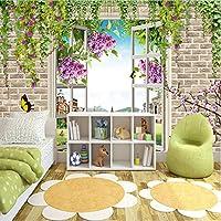 Lixiaoer 牧歌的なスタイル3Dステレオローズウィンドウ背景壁写真壁画壁紙リビングルームの寝室テーマホテル暖かい装飾壁画-120X100Cm