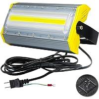 LED投光器,LED作業灯,50W 850W相当 COBチップ 8000LM 3Mコード アース付きプラグ PSE適合…