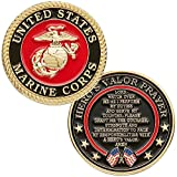 (1, Us Marines) - United States Marine Corps Challenge Coin with Hero's Valour Prayer 1-Pack (One Coin)