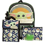 Star Wars Mandalorian Baby Yoda Backpack Set for Kids, 16 inch, 5 Piece Value Set