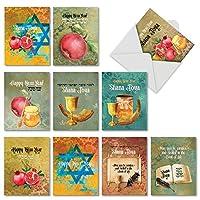 am6135rhg-b1X 10Shana Tova Greetings : 10Assorted Jewish新しい年Notecards featuringヘブライ語テキスト宗教、Imagery for the Jewish新しい年、封筒付き。
