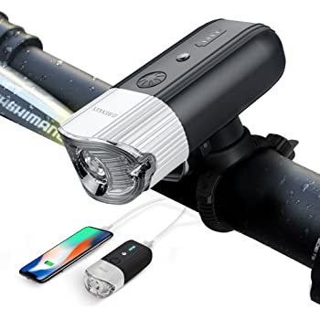 自転車ライト モバイルバッテリー SHENKEY ブラケットの改良版 USB充電式 IP65防水 4000mah 1200 ルーメン 光度センサー 振動センサー搭載 高輝度 耐久性 (12ヶ月安心保証)