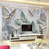 Gyqsouga カスタム壁画壁紙現代3Dレリーフ蝶背景壁紙用壁リビングルームテレビソファ家の装飾-420X280Cm