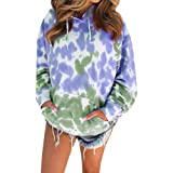 YND Women Long Sleeve Pullover Tops, Lightweight Tie Dye Drawstring Hoodie with Pockets, Comfy Casual Sweatshirts