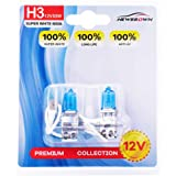 Halogen Headlight Bulb with Super White Light,Long Life, 2 Pack H3 Halogen Headlight Bulb pair-standard H3