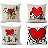 Andreannie Set of 4 Keith Haring's Graffiti-Art Printing Cotton Linen Throw Pillow Case Personalized Cushion Cover Decorative