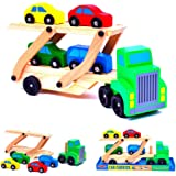 Melissa & Doug 4096 Car Carrier Truck and Cars Wooden Toy Set with 1 Truck and 4 Cars,red