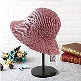 CJC 太陽帽子婦人向けUPF50+日焼け止め夏ストローワイド鍔折りたたみ可能 調節可能な パック可能 (色 : 1)