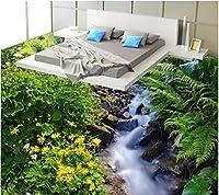 Weaeo 3Dフローリングの壁紙のカスタム防水3DフローリングPvcのHdストリーム草花の3Dフローリングの3D壁の壁画の壁紙-120X100Cm