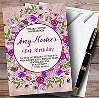 ピンク&パープルWatercolour Floral 90th Personalized誕生日パーティー招待状 50 Invitations