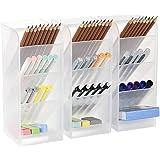 3 Pcs Big Desk Organizer- Pen Organizer Storage for Office, School, Home Supplies, Translucent White Pen Storage Holder, High