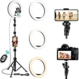 """10"""" Selfie Ring Light with Tripod Stand & Cell Phone Holder for Live Stream/Makeup/YouTube Video/Photography, Dimmable Ring L"""