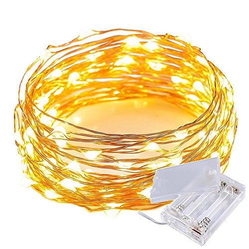 LEDストリングライト 3m 30粒LEDs 電池式 銅線ワイヤー フェアリーライト イルミネーションライト シャン パンゴールド 防水 庭、クリスマス、パーティー、雰囲気を作成しますに最適、ゴールド