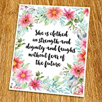 Proverbs 31:25 She is clothed in strength and dignity Print (Unframed) Baby Shower Gift Watercolor Flower Scripture Print Bible Verse Print Christian Wall Decor Nursery Print 8x10 TC-062 [並行輸入品]