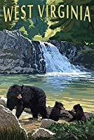 West Virginia–Waterfall and Bears 16 x 24 Signed Art Print LANT-50129-709