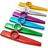 Quality 6 Different Colors of Metal Kazoo (A Good Companion for Guitar, Ukulele, Violin, Piano Keyboard) (6 Pack)