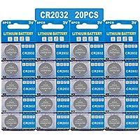 CR2032リチウム3Vバッテリー、玩具電卓用電子コインセルボタン(20個)