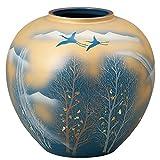九谷焼 陶器 花瓶 金雲木立