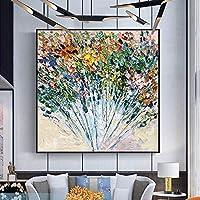 SILYHN 塗装抽象花アート油絵キャンバス壁アート壁装飾写真絵画用ライブルーム家の装飾(70×70センチ)28×28インチA