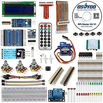 OSOYOO(オソヨー) Raspberry Pi 学ぶ電子工作キット 初心者演習用パーツセット ラズパイ11実例 回路配線図とサンプルスケッチ有り プログラミング ラズベリー パイ 超入門 スターター学習キット LED制御 スイッチ I2C LCD 温湿度センサー マイクロサーボ 人体感知センサー A/Dコンバータ ブザー 大気圧センサー リレーモジュール制御 赤外線リモコン等IoTを実践する電子部品セット (Pi 3 DIY Kit 22in1)