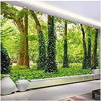 Xbwy カスタム壁画壁紙用壁3Dわら緑の森の木絵画写真不織布壁紙用リビングルームの装飾背景-400X280Cm