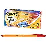 ビック 油性ボールペン オレンジ 0.7 赤 12本入 ORGF12EGRED
