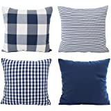 Hoplee Decorative Throw Pillow Cover Set of 4 Buffalo Plaid,Tricking Stripe and Gingham Plaid Design, Cotton and Polyester, N