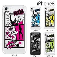アメコミ マンガ【グレー】/ iPhone8 (4.7) ケース カバー