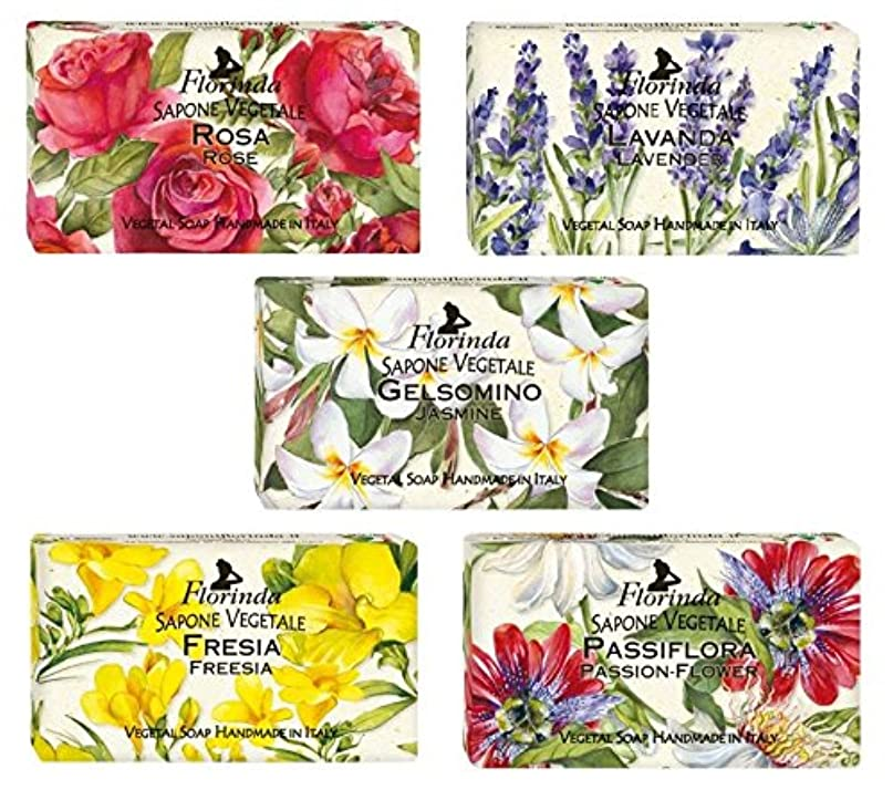 虫を数える滝普遍的な【5種セット】 フロリンダ フレグランスソープ 95g 花の香り 5種セット