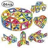 創意プレゼント想像力を育てる知育玩具・学習玩具 アンパン磁石ブロック 立体パズル積み木 創造力育てるマグネットブロック男女の子のおもちゃ (64ピース)