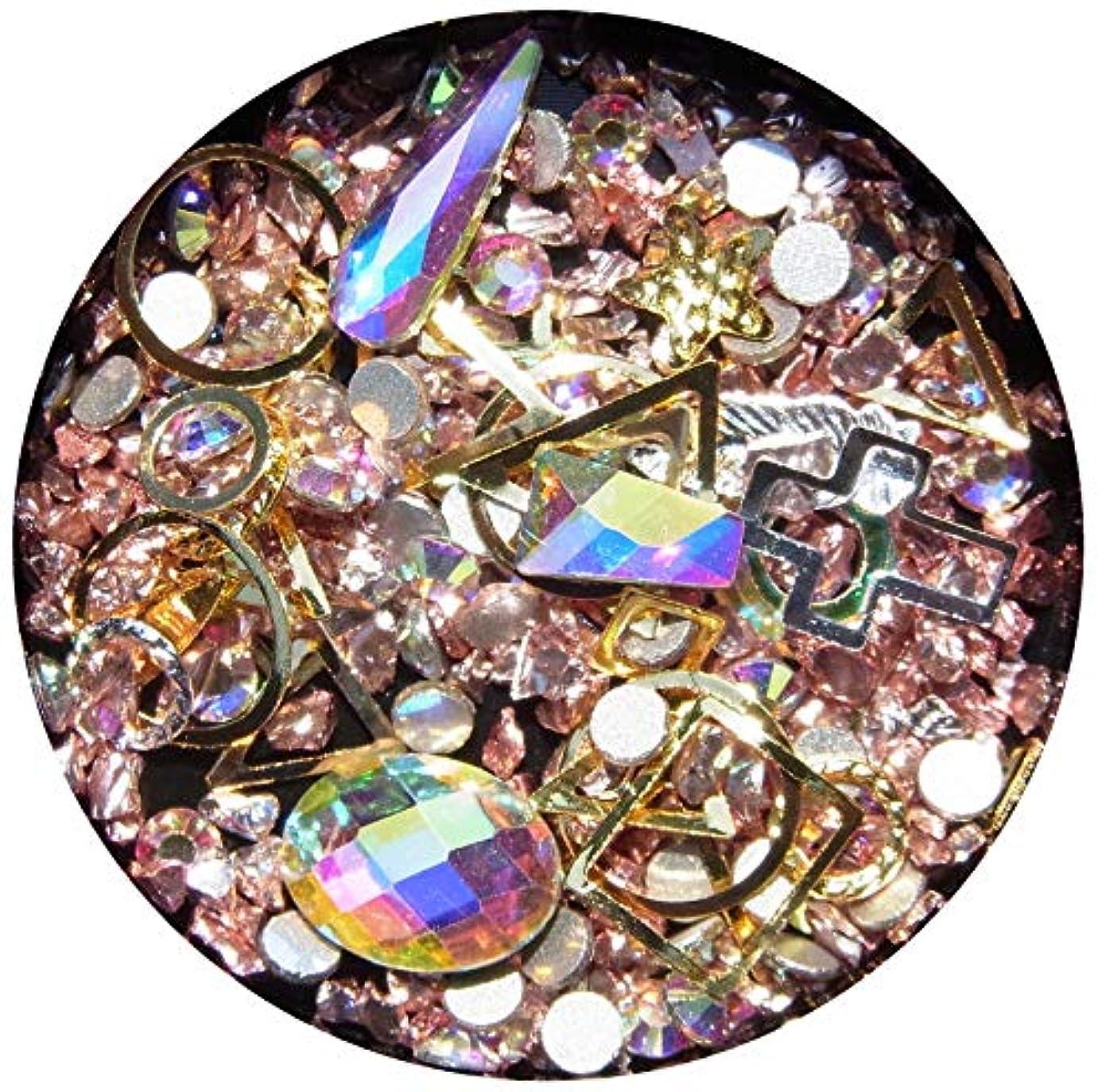 人種リングレット【jewel】メタルパーツ ミックス ラインストーン カーブ付きフレーム ゴールド ネイルアートパーツ レジン (5)