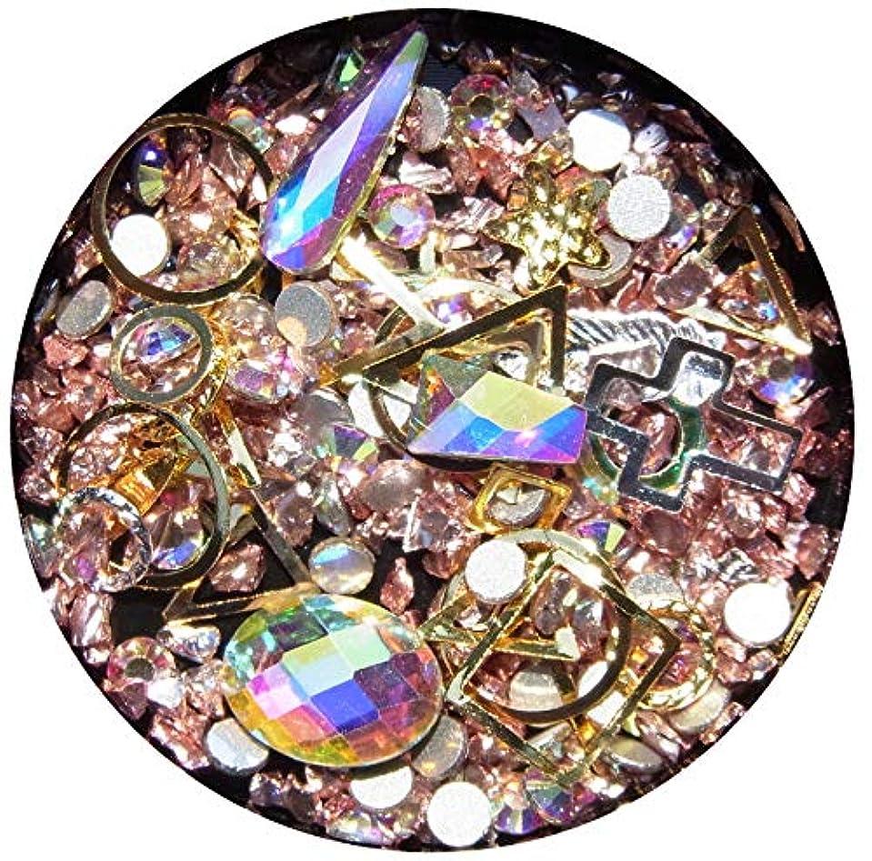 放送思われる全部【jewel】メタルパーツ ミックス ラインストーン カーブ付きフレーム ゴールド ネイルアートパーツ レジン (5)
