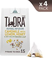 Ti Ora Herbal Infusion - Camomile with Lemon, Honey & New Zealand Manuka Leaf - 4 Packs of 15 Pyramid Tea Bags (60 Serves),