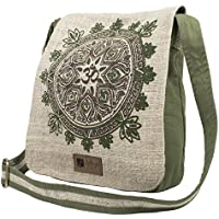 Natural Hemp-Cotton Eco Mandala Hippie Boho Cross Body Messenger Bag Sling Bag