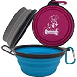 Collapsible Silicone Bowls 3 Pack (XL 25oz Each) with Color Matched Carabiner Clips - Dishwasher Safe BPA FREE Food Grade Sil
