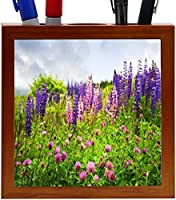 Rikki Knight Purple and Pink Wildflowers Design 5-Inch Wooden Tile Pen Holder (RK-PH8974) [並行輸入品]